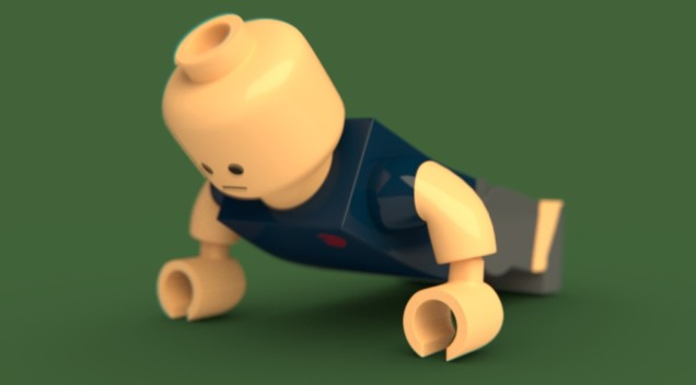 Lego man doing pushups